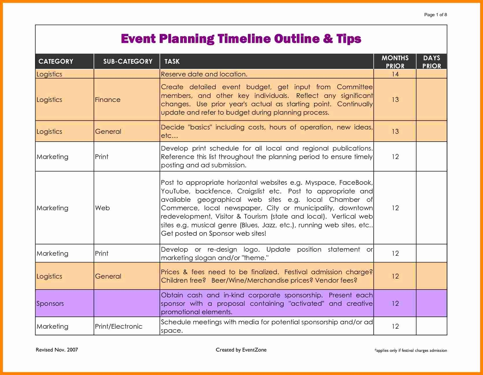 Event Planning Timeline Template Elegant event Planner Timeline Template