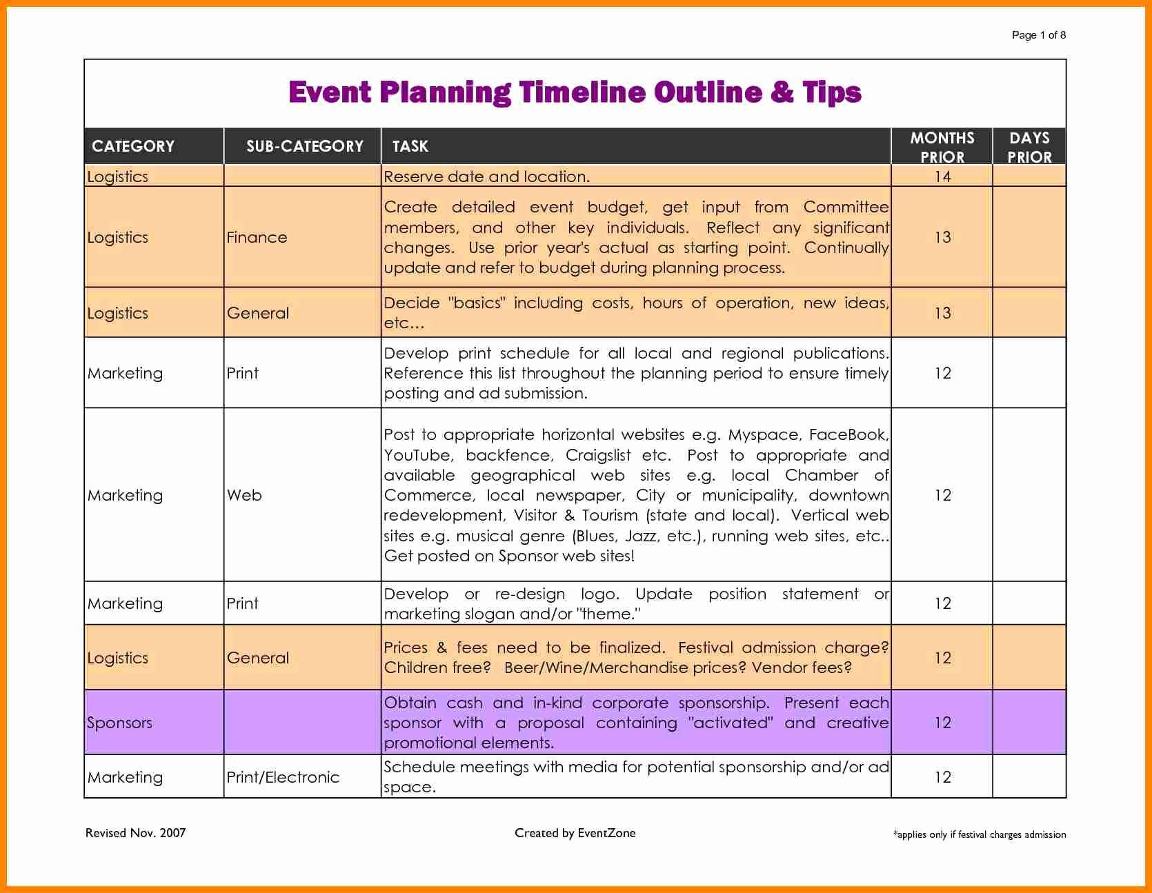Event Planning Timeline Template Elegant event Planner Timeline Template