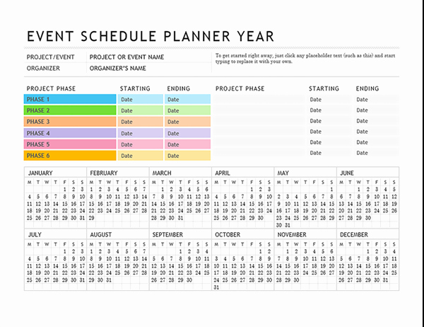 Event Planning Timeline Template Lovely event Planner