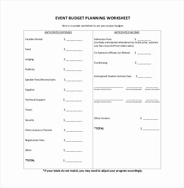 Event Planning Worksheet Template Lovely 15 Bud Template for Mac Free Sample Example format