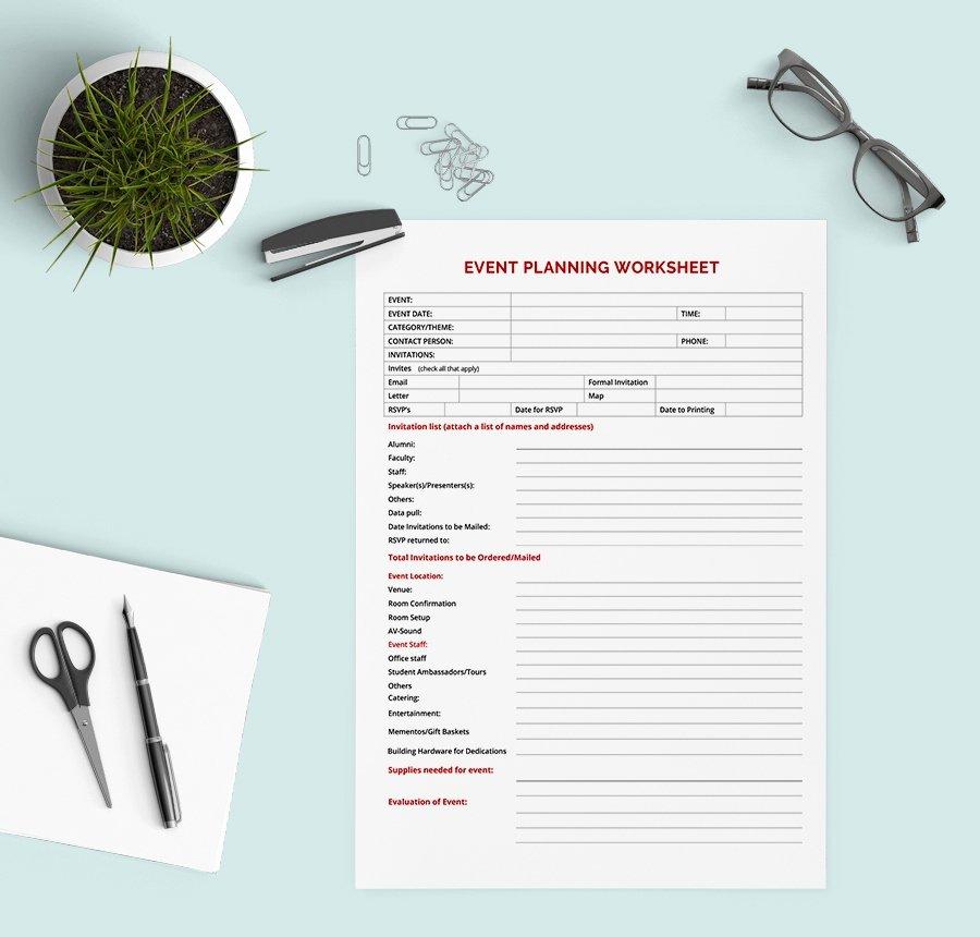 Event Planning Worksheet Template New 5 Free Worksheet Templates Resume Bud event