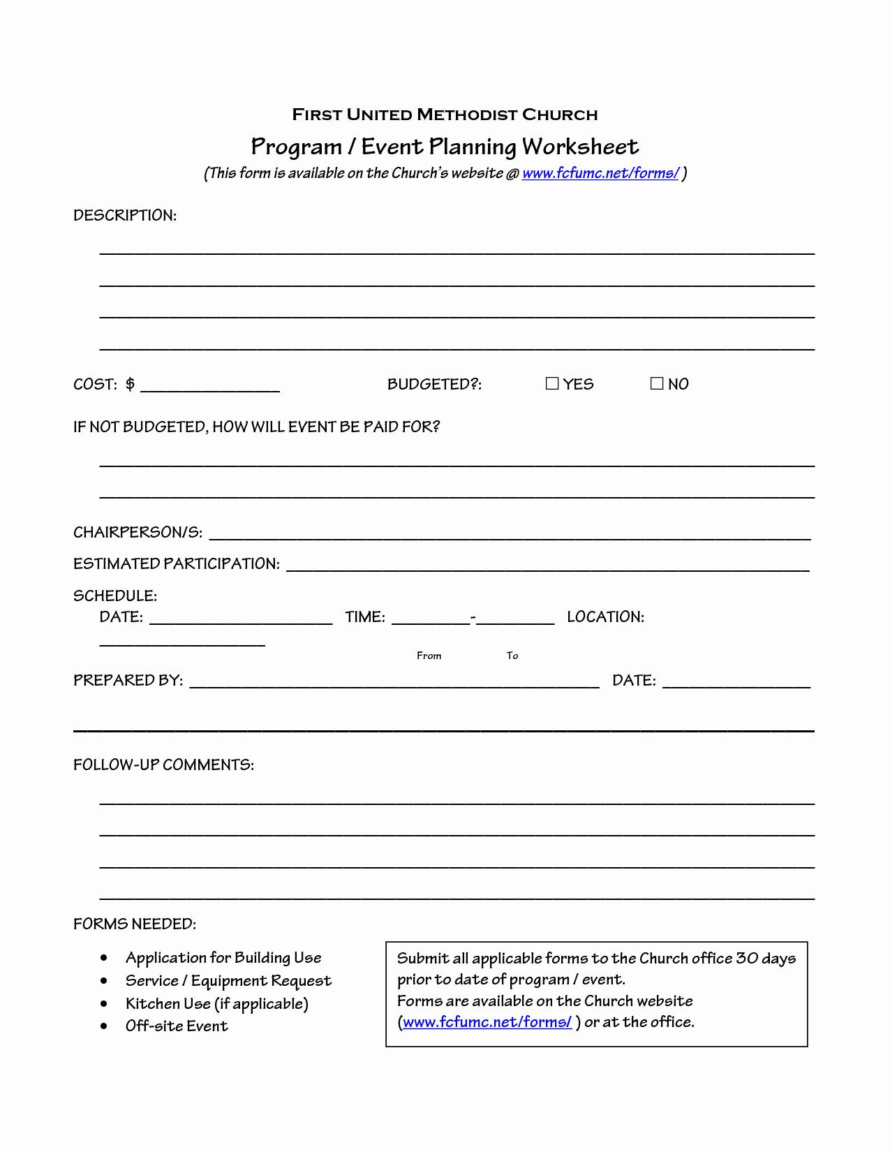 Event Planning Worksheet Template Unique Church event Planning Worksheet organize It