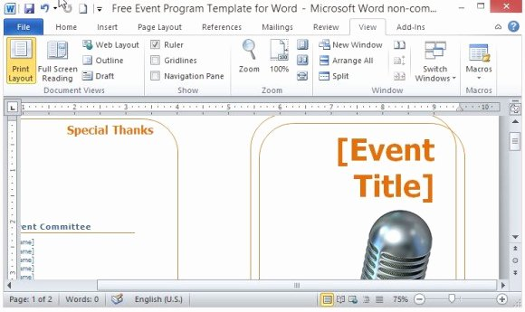 Event Program Template Word Elegant Free event Program Template for Word