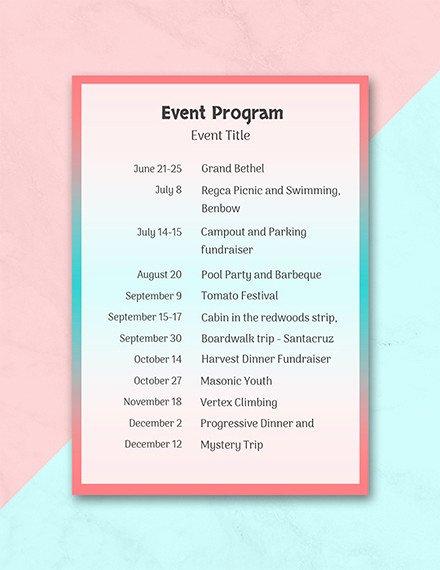 Event Program Template Word Inspirational 37 Sample event Program Templates Psd Ai