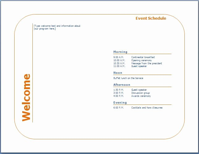 Event Program Template Word Lovely Generic event Program Template