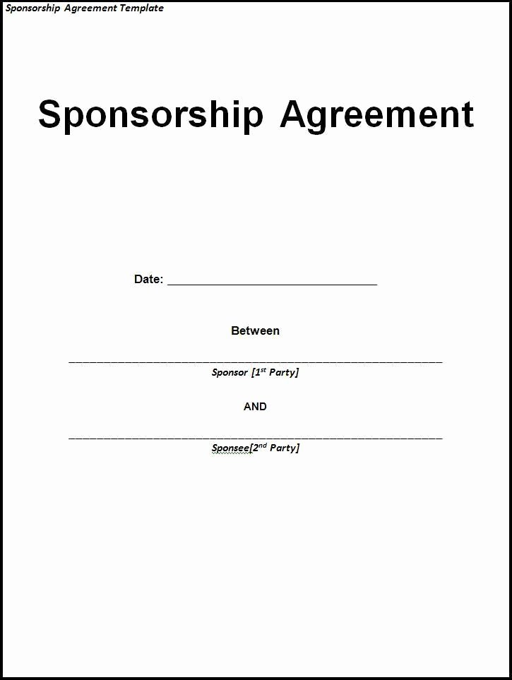 Event Sponsorship Agreement Template Beautiful 10 Sponsorship Agreement Templates
