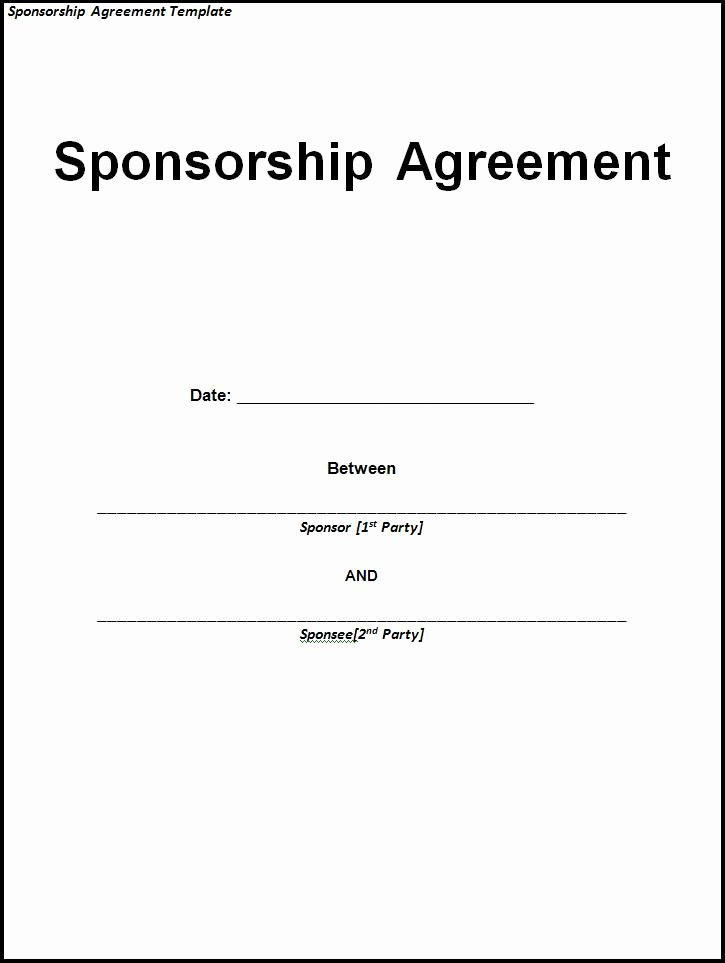 Event Sponsorship Agreement Template Best Of Sponsorship Agreement Sample and Template Use Our