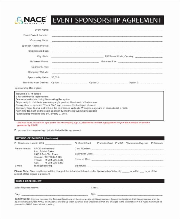 Event Sponsorship Agreement Template Luxury 7 Sponsorship Agreement form Samples Free Sample