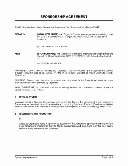 Event Sponsorship Agreement Template Luxury Business Agreement Templates