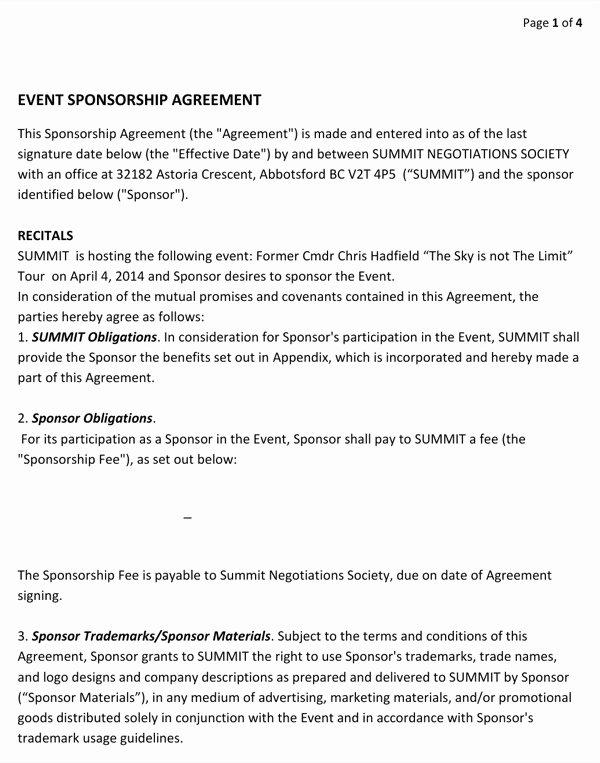 Event Sponsorship Agreement Template New Download event Sponsorship Agreement for Free formtemplate