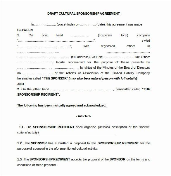 Event Sponsorship Agreement Template Unique 15 Sponsorship Agreement Templates Free Sample Example