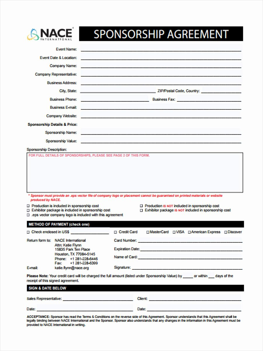 Event Sponsorship Agreement Template Unique 7 event Sponsorship form Sample Free Sample Example