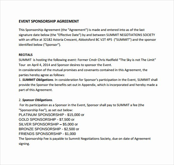 Event Sponsorship form Template Beautiful Sample Sponsorship Agreement 14 Documents In Pdf Word