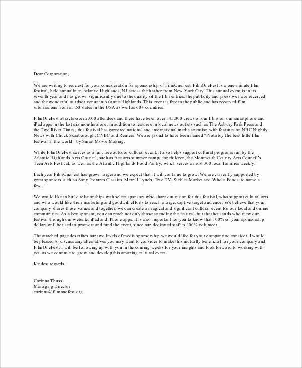 Event Sponsorship form Template Elegant 7 Corporate Sponsorship Letters – Pdf Word Apple Pages