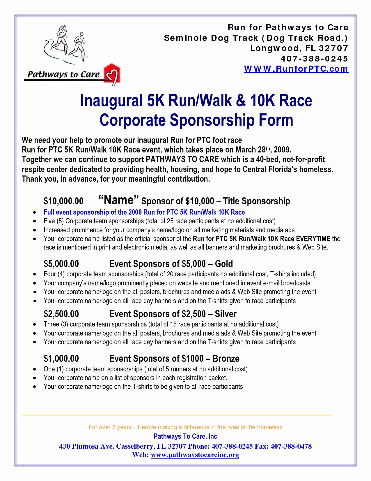 Event Sponsorship form Template Fresh 5k Sponsorship Letter Template Examples