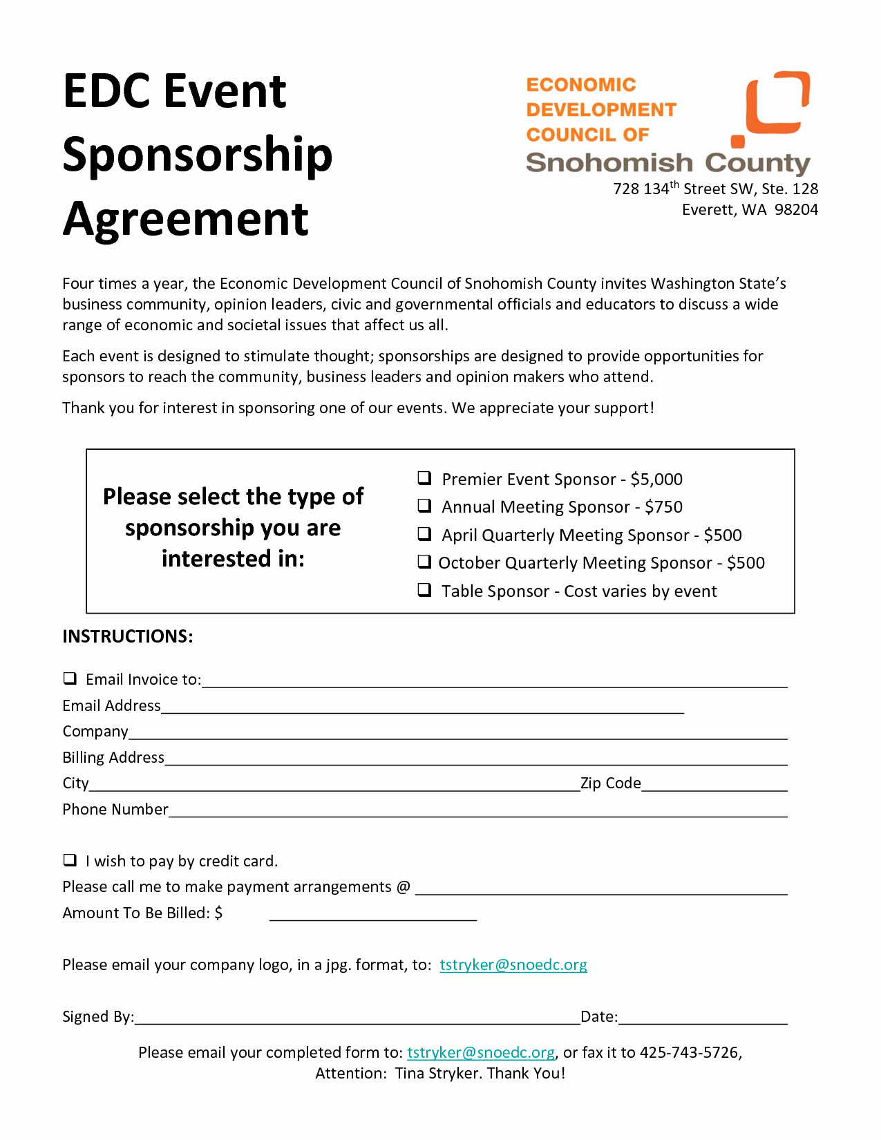 Event Sponsorship form Template Fresh event Sponsorship Agreement Template