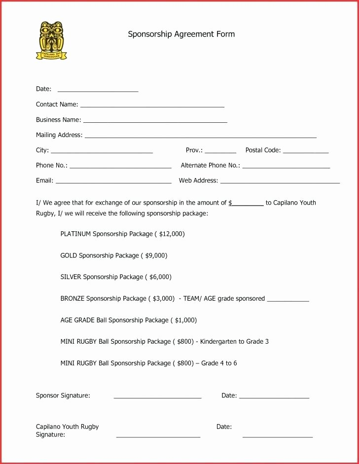 Event Sponsorship form Template Lovely Blank Sponsorship form Template – Shiftevents