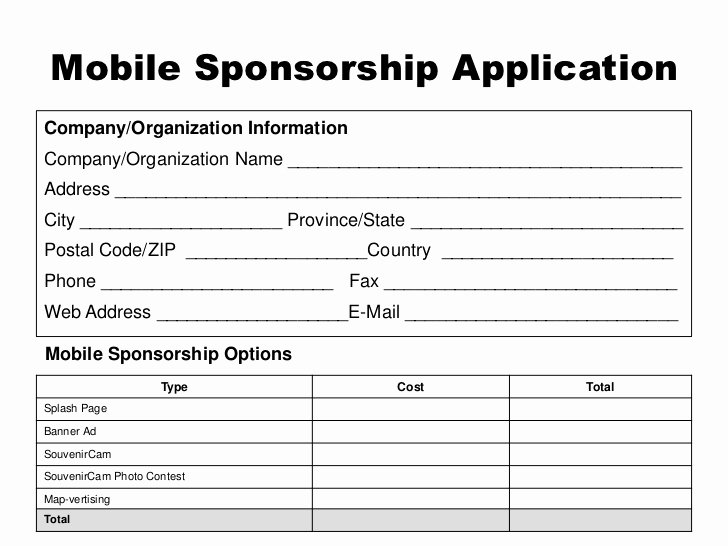 Event Sponsorship form Template Lovely event Mobile App Sponsor Proposal Template
