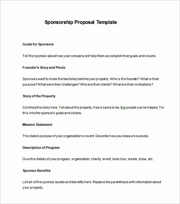 Event Sponsorship form Template New Sponsorship Proposal Template 10 Free Word Pdf format