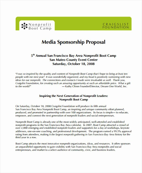 Event Sponsorship Proposal Template Best Of Sample Sponsorship Proposal Template for 11 Sponsorship