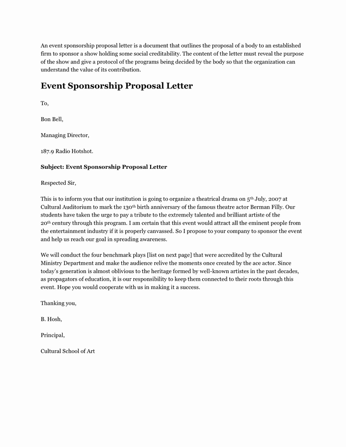 Event Sponsorship Proposal Template Elegant event Sponsorship Proposal Letter In Word and Pdf formats
