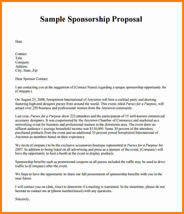 Event Sponsorship Proposal Template Fresh How to Write A Sponsorship Proposal Template Sponsorship