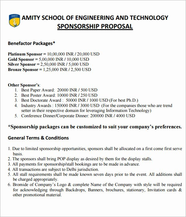 Event Sponsorship Proposal Template Fresh Sponsorship Proposal Templates 9 Download Free