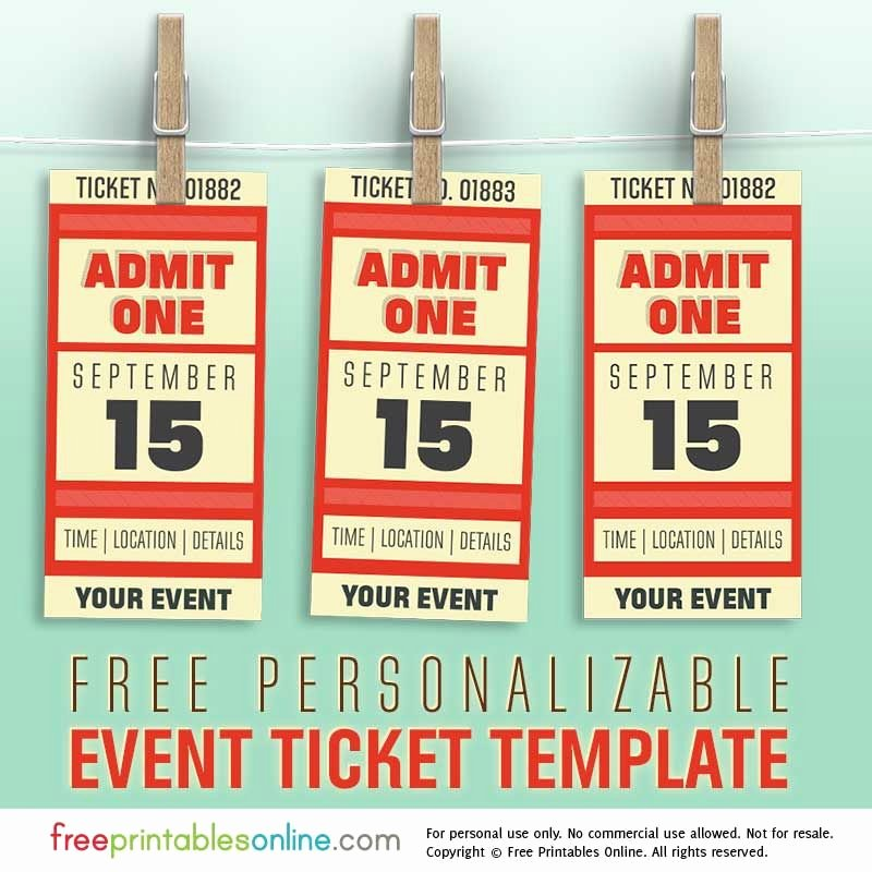 Event Ticket Template Free Beautiful Free Personalized event Ticket Template Free Printables