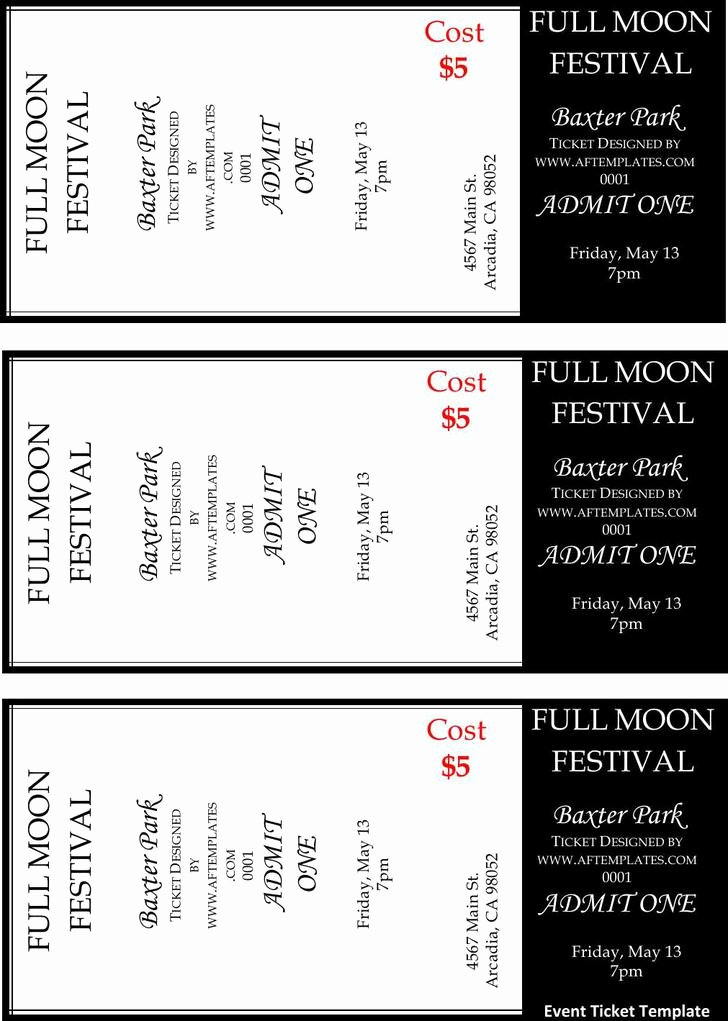 Event Ticket Template Free Elegant 81 Ticket Templates Free Download