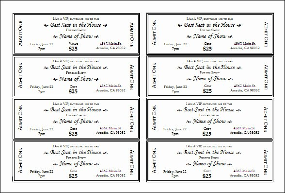 Event Ticket Template Free Lovely Microsoft Publisher Ticket Template Blank Ticket Template