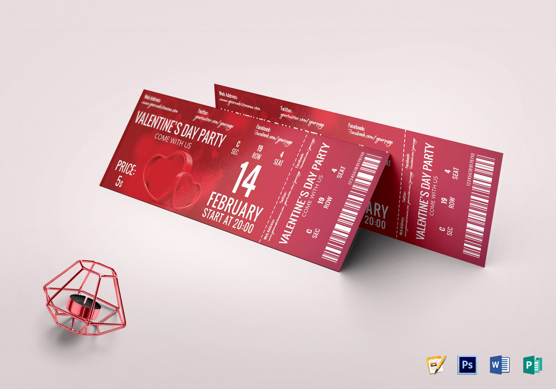 Event Ticket Template Free Luxury Valentine event Ticket Design Template In Word Psd Pages
