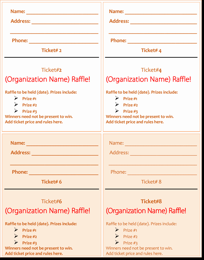 Event Ticket Template Word New 20 Free Raffle Ticket Templates with Automate Ticket