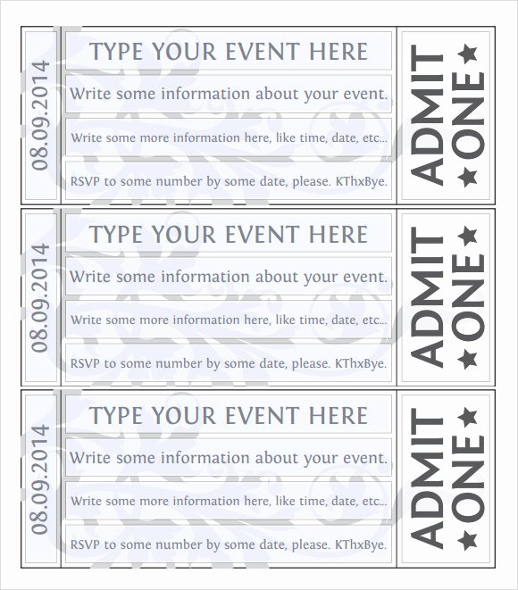 Event Ticket Template Word Unique 22 Sample Amazing event Ticket Templates to Download