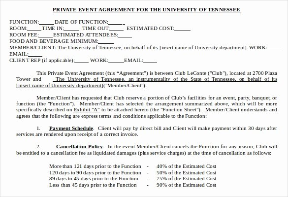 Event Venue Contract Template Inspirational event Contract Template 19 Word Excel Pdf Documents