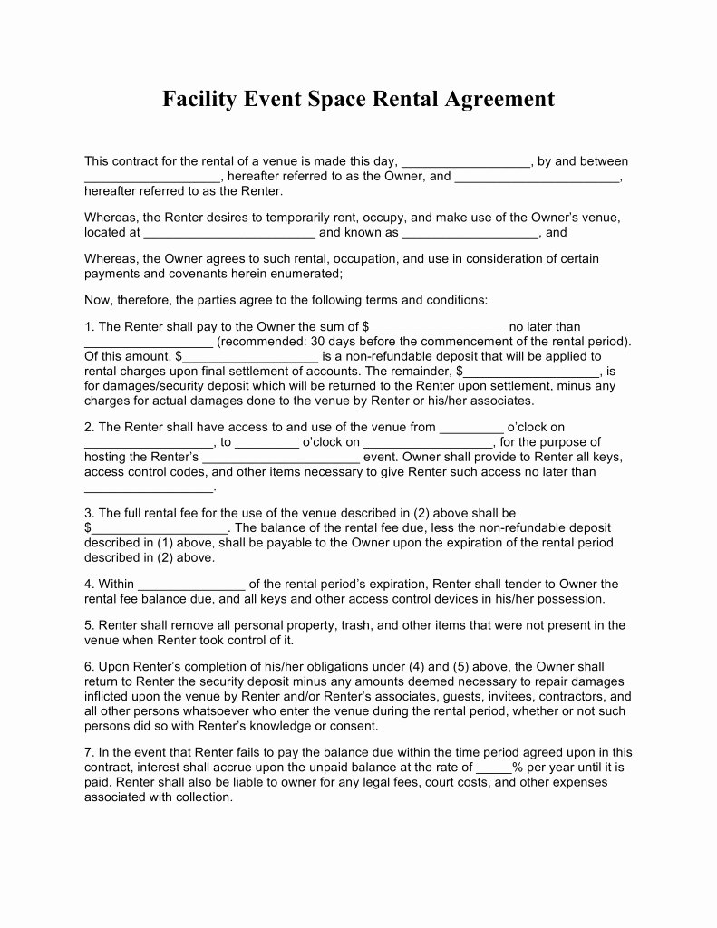 Event Venue Contract Template Inspirational event Venue Contract Template Templates Resume