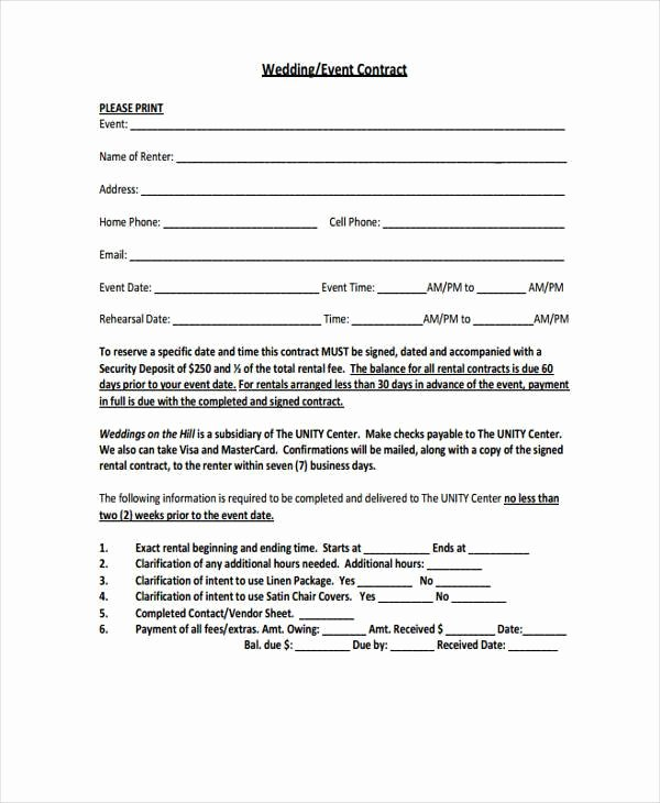 Event Venue Contract Template New Contract forms In Pdf