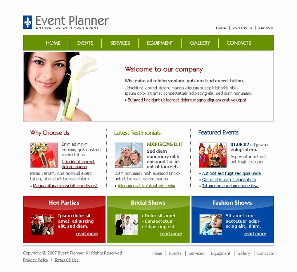 Event Website Template Free Awesome event Planner Website Template