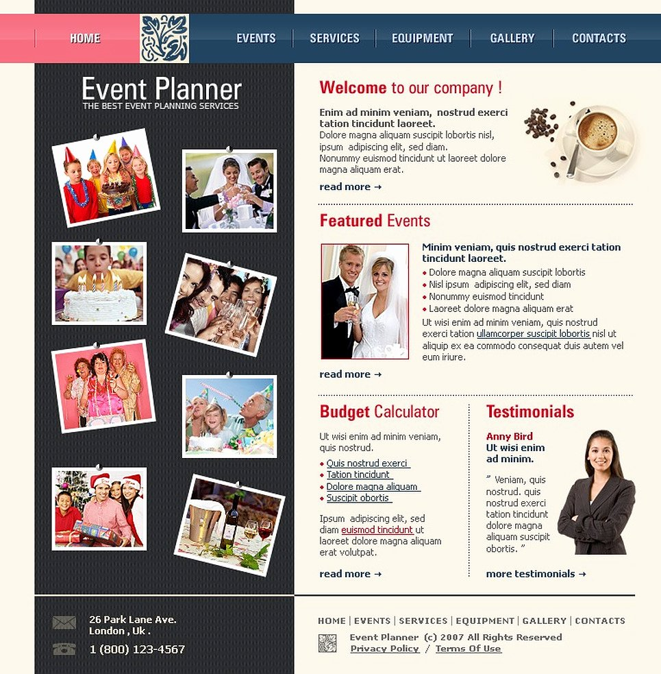 Event Website Template Free Beautiful event Planner Website Template
