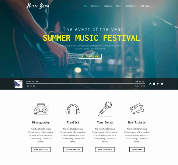 Event Website Template Free Lovely 25 Band Website themes & Templates
