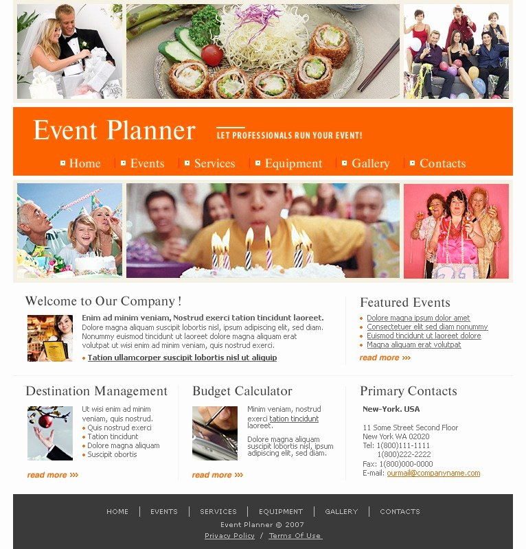 Event Website Template Free Lovely event Planner Website Template