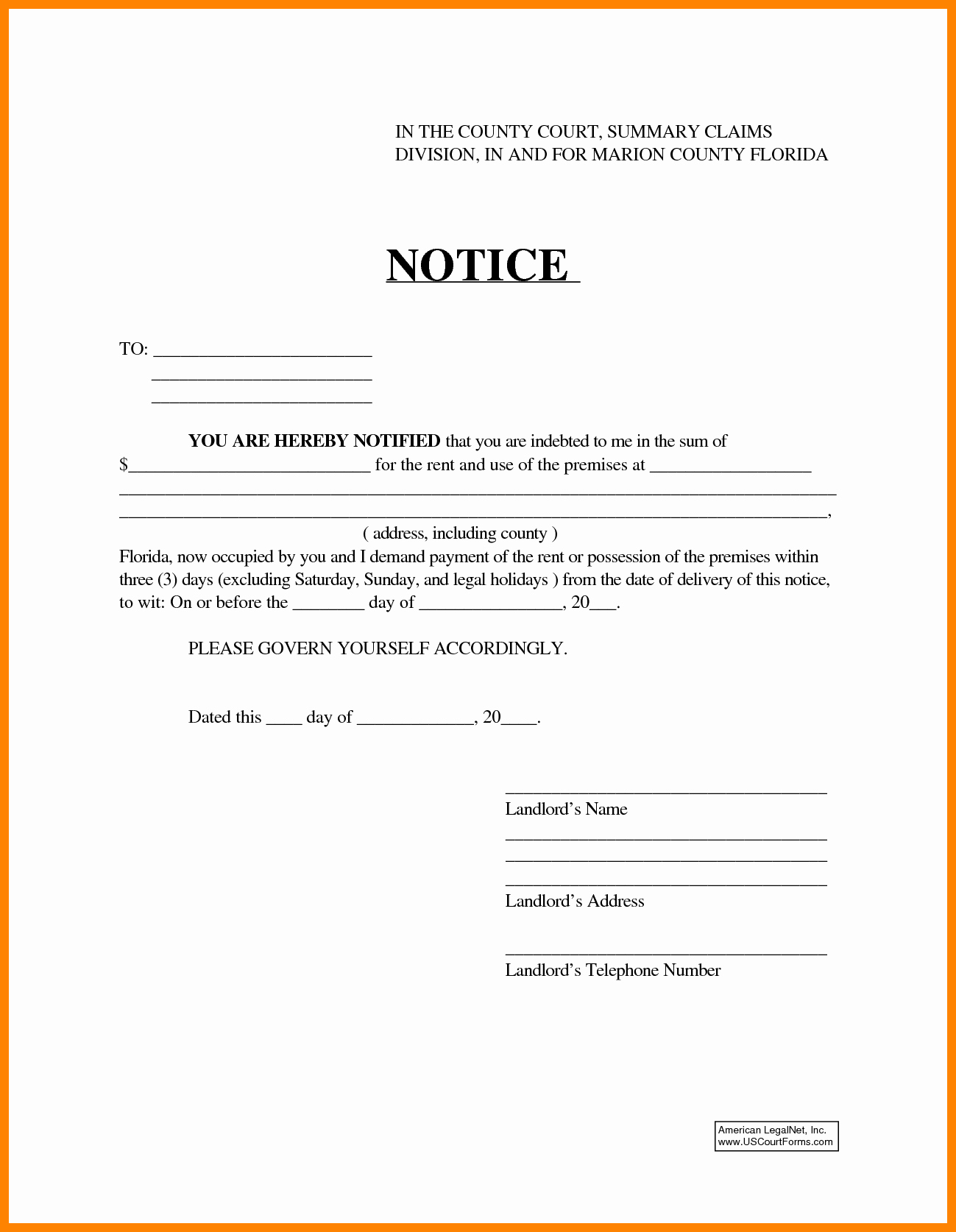 Eviction Notice Florida Template Best Of Eviction Notice Template Word Portablegasgrillweber