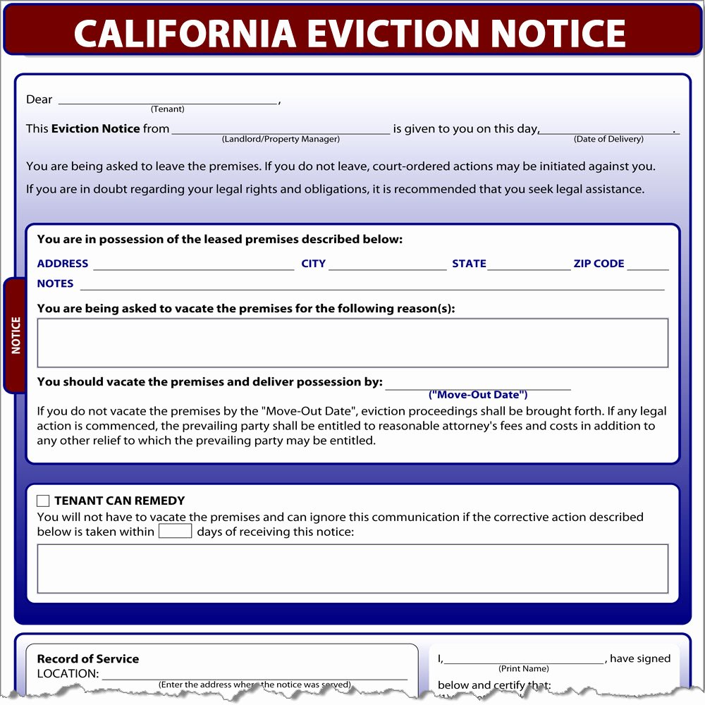 Eviction Notice Template California New California Eviction Notice