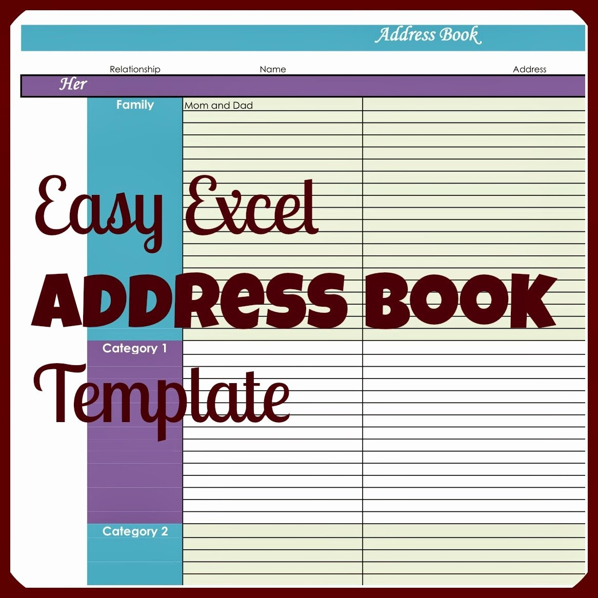 Excel Address Book Template Awesome Laura S Plans Easy Excel Address Book Template