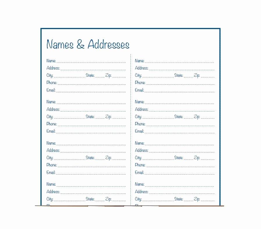 Excel Address Book Template Inspirational 40 Printable & Editable Address Book Templates [ Free]
