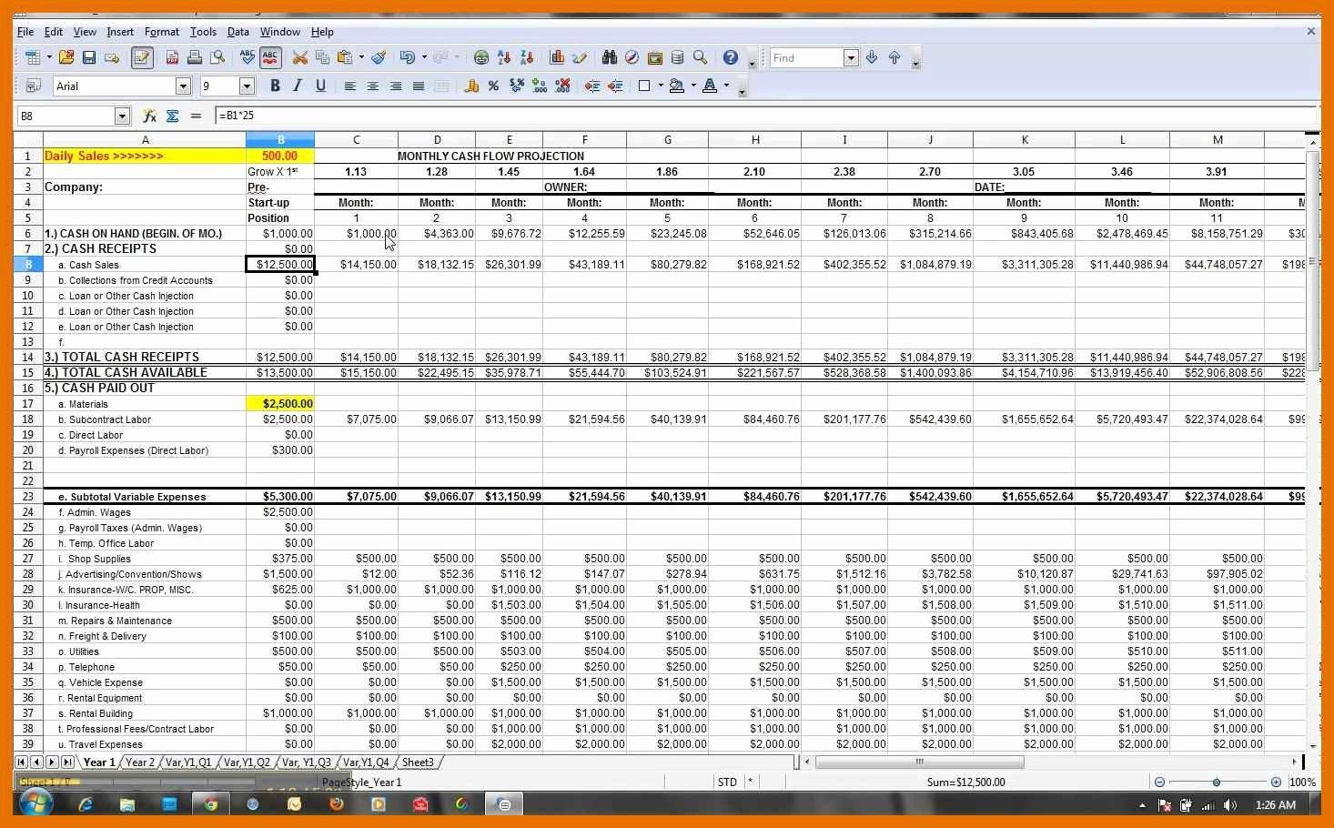 Excel Cash Flow Template Luxury 1 2 Cash Flow Projection Template Excel