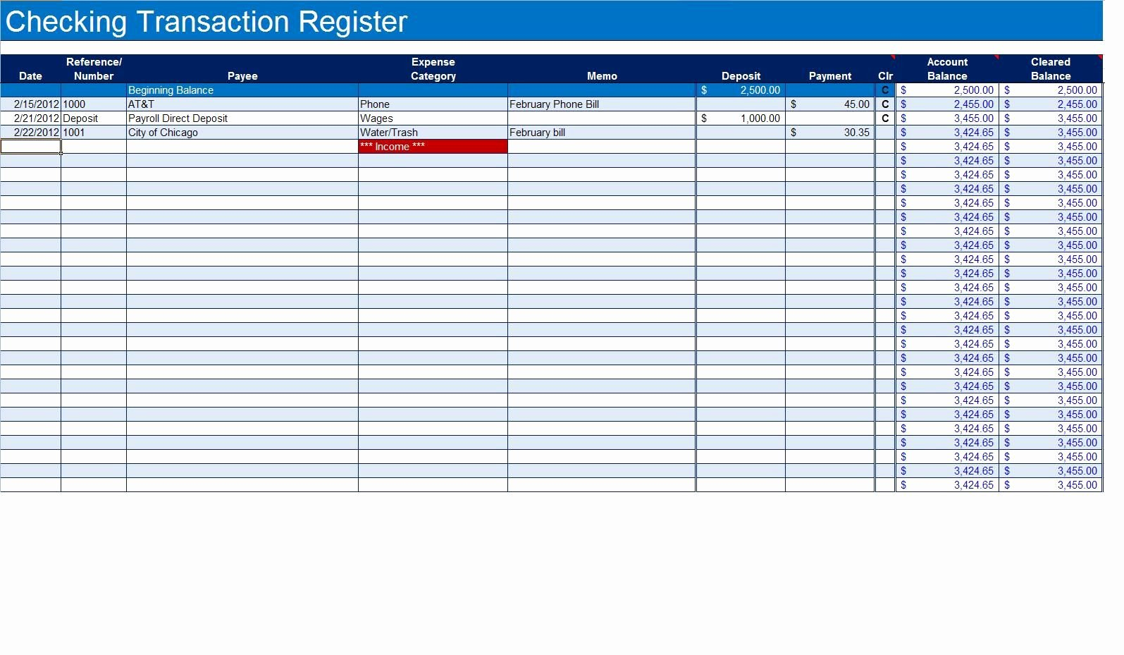 Excel Checkbook Register Template Awesome How to Create A Checkbook Register In Excel