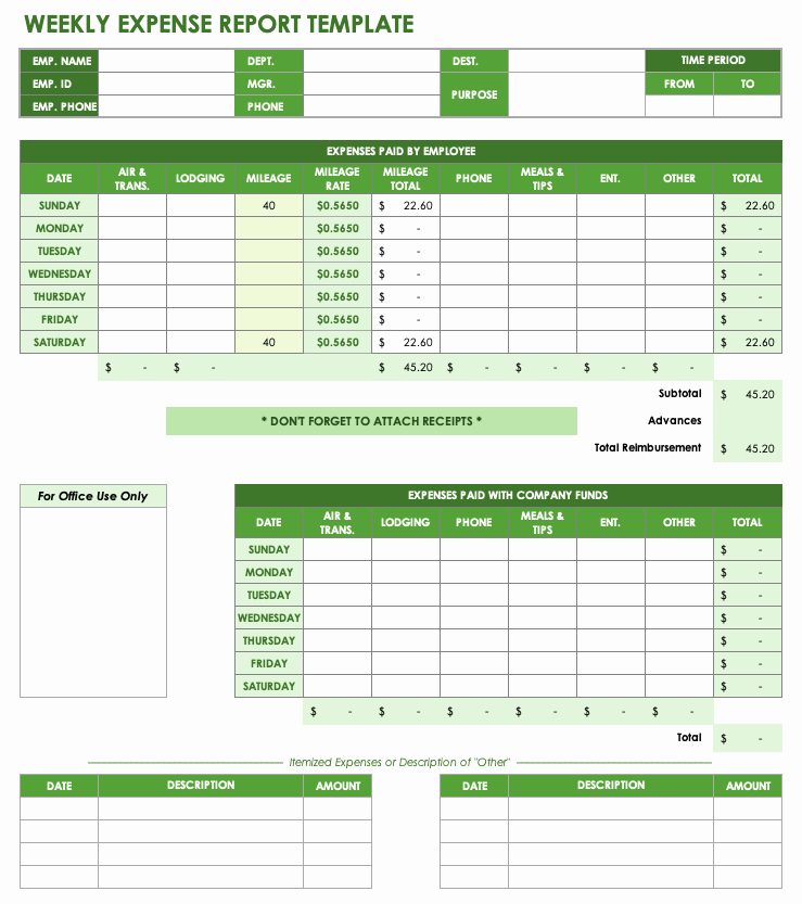 Excel Expense Report Template Beautiful Free Expense Report Templates Smartsheet