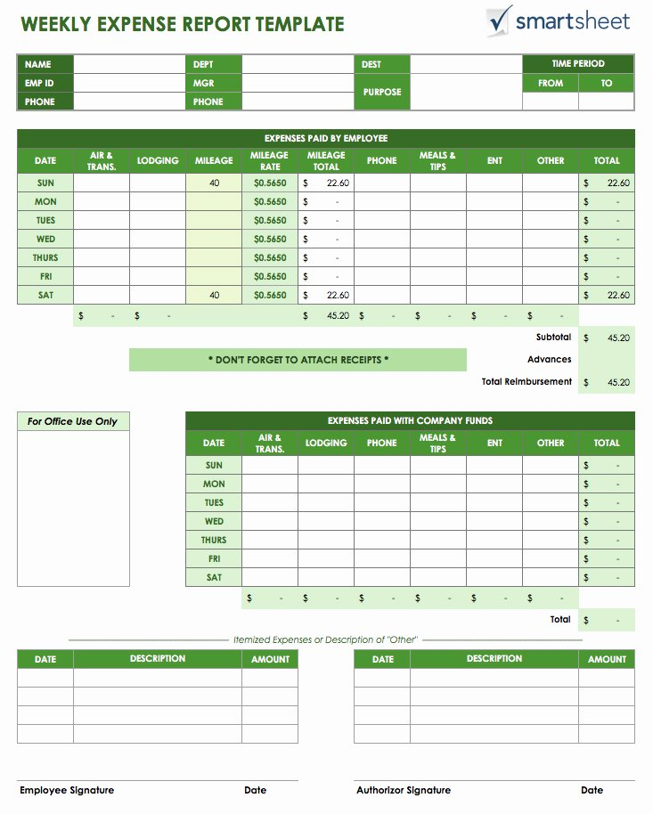 Excel Expense Report Template Inspirational Free Expense Report Templates Smartsheet