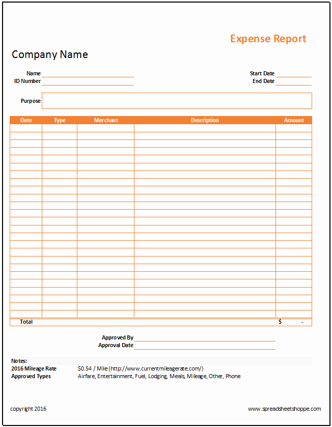 Excel Expense Report Template Inspirational Simple Expense Report Template Spreadsheetshoppe