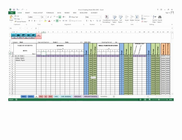 Excel Grade Sheet Template Fresh K to 12 Grading Sheet Automatic Putation Excel 2013